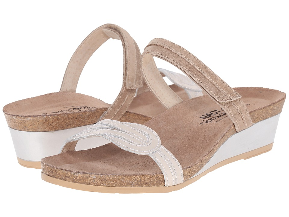 Naot - Folklore (Khaki Beige Leather/Dusty Silver Leather) Women's Sandals