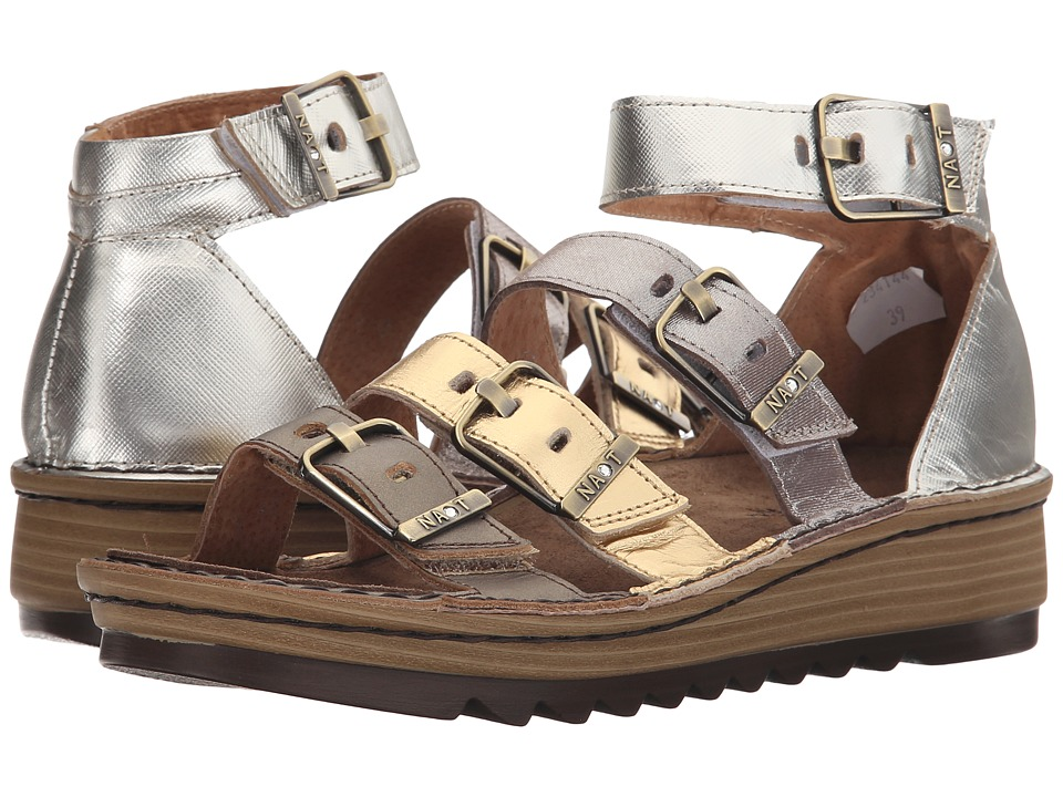 Naot Footwear Begonia Pewter Leather/Gold Leather/Satin Gold Leather/Silver Luster Womens Sandals