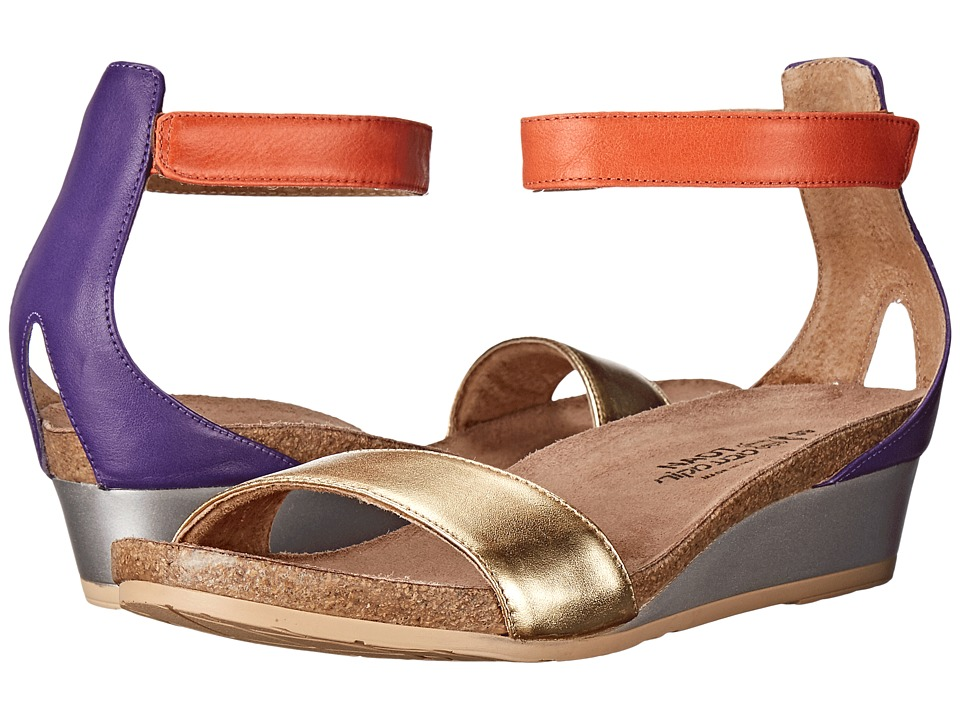 Naot Pixie (Gold Leather/Purple Leather/Orange Leather) Sandals