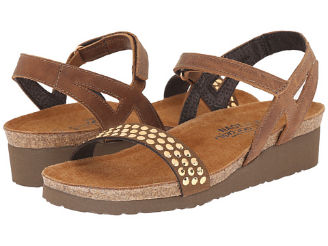 Naot Footwear Lexi - Saddle Brown Leather/Brown/Copper Rhinestones