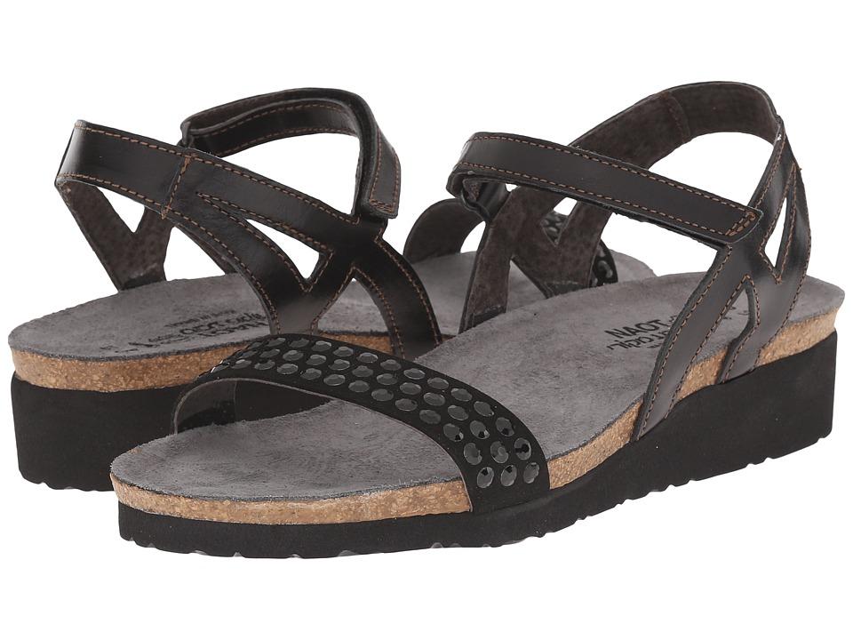 Naot Footwear - Lexi (Black Madras Leather/Black/Black Rhinestones) Women