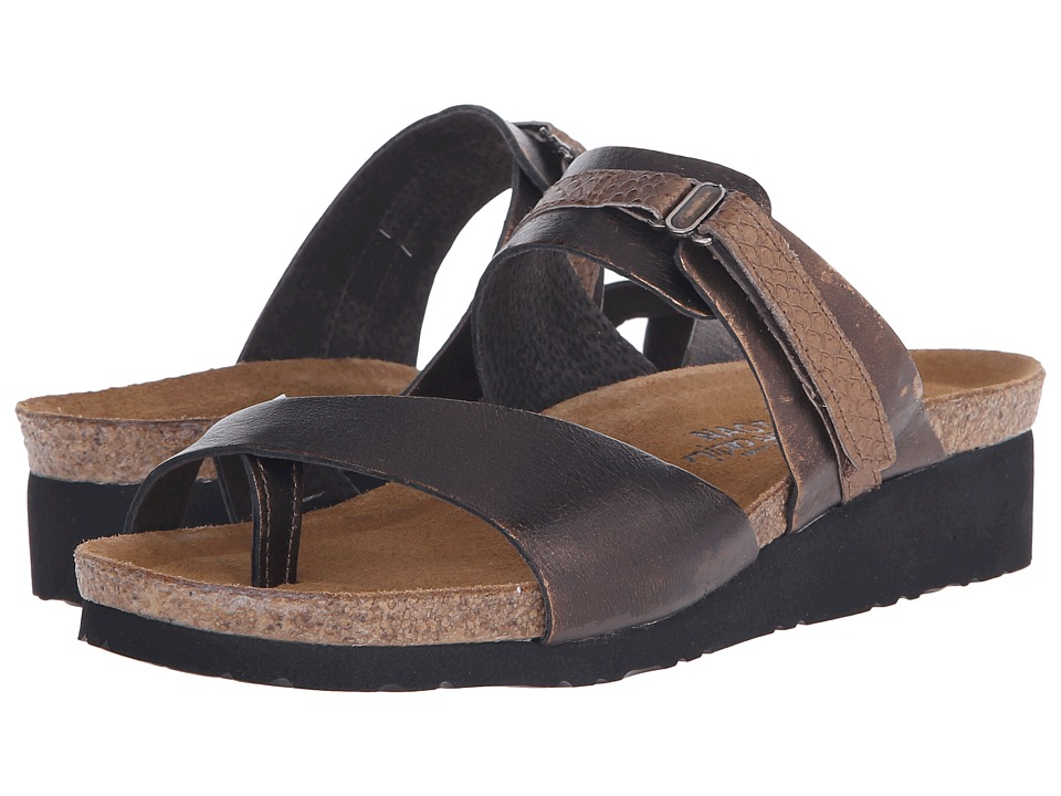 Naot Footwear Jessica (Burnt Copper Leather/Brown Lizard Leather) Sandals