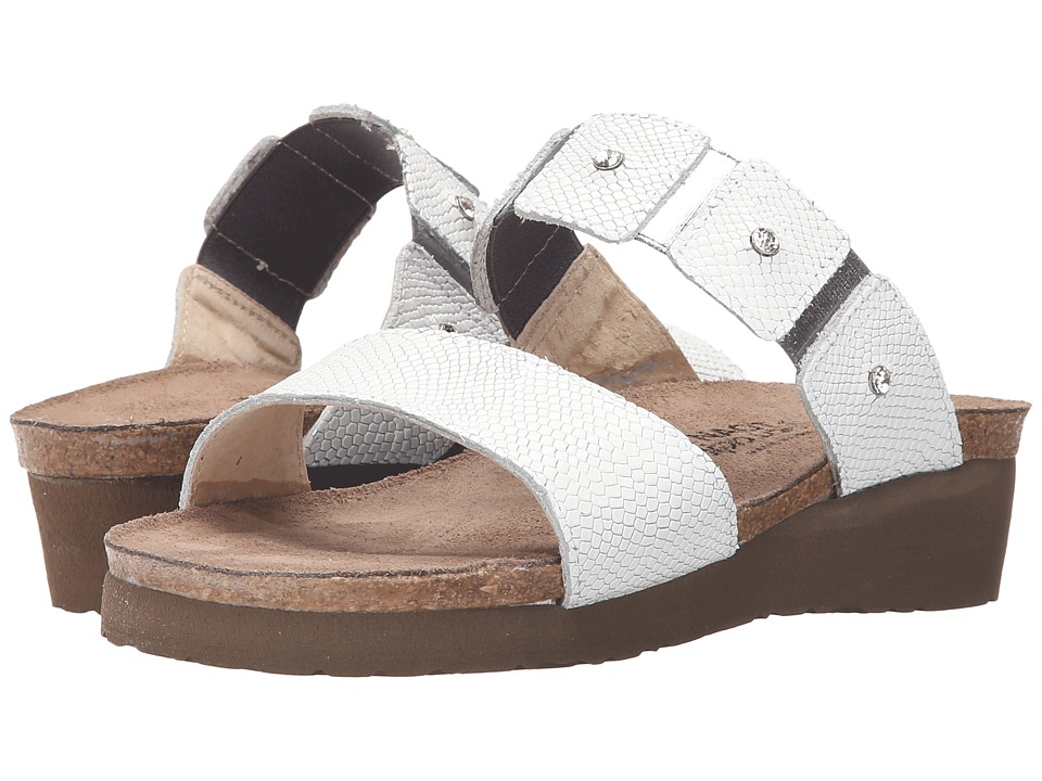 Naot Footwear Ashley (White Snake Leather) Sandals