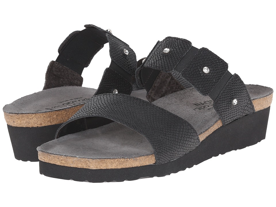 Naot Footwear Ashley (Black Snake Leather) Sandals