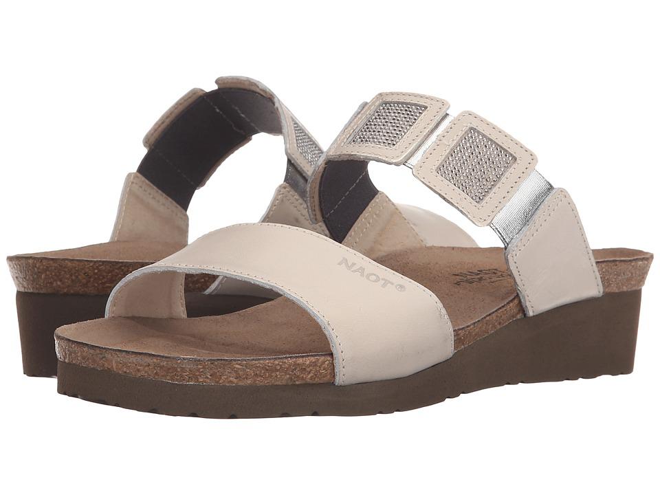 Naot Footwear Emma Dusty Silver Leather/Beige/Silver Rivets/Dusty Silver Leather Womens Sandals
