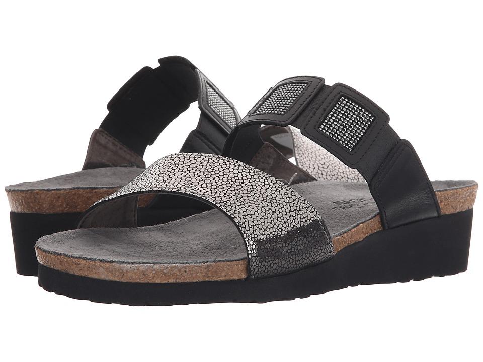 Naot Footwear Emma Silver Pebble Leather/Black/Black Rivets/Black Raven Leather Womens Sandals