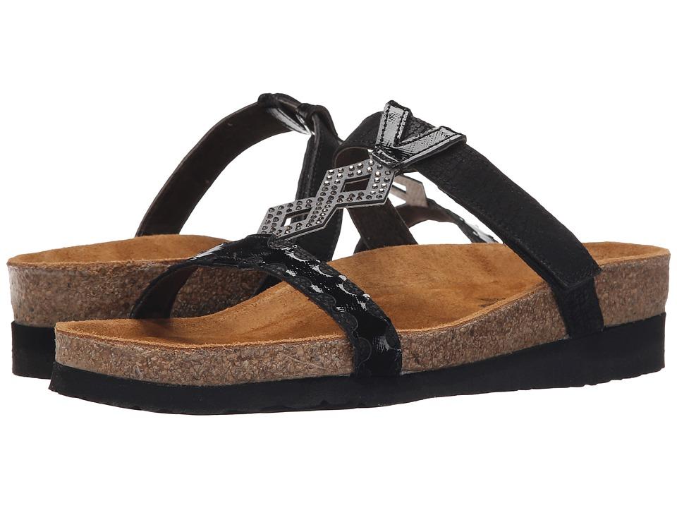 Naot Footwear - Aspen (Black Crackle Leather/Black Luster Leather) Women