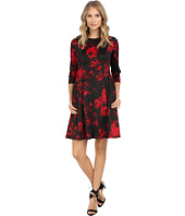 Jessica Howard - One-Piece 3/4 Sleeve Side Seamed Fit & Flare Dress