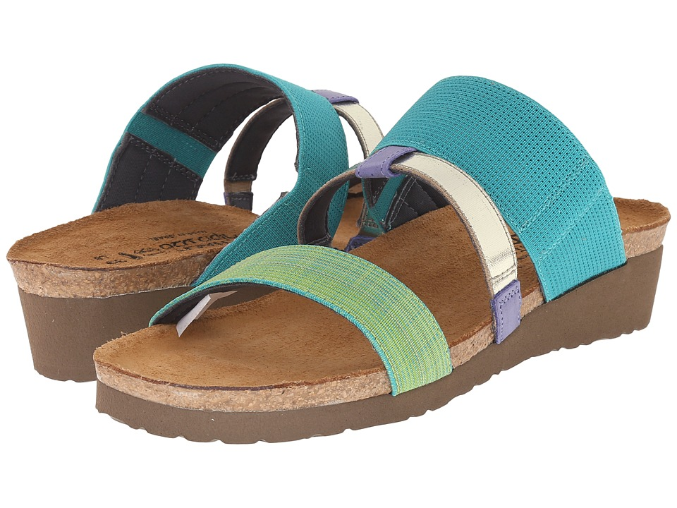 Naot - Brenda (Turquoise Gore/Green Fabric/Black/White Gore/Sky Leather) Women's Sandals