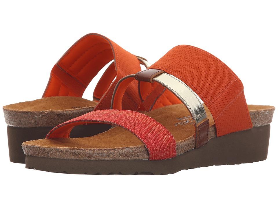 Naot Footwear Brenda Orange Gore/Orange Fabric/Black/White Gore/Maple Brown Leather Womens Sandals