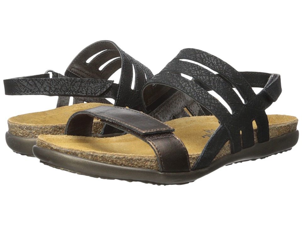 Naot Footwear Diana Black Crackle Leather/Burnt Leather Womens Sandals