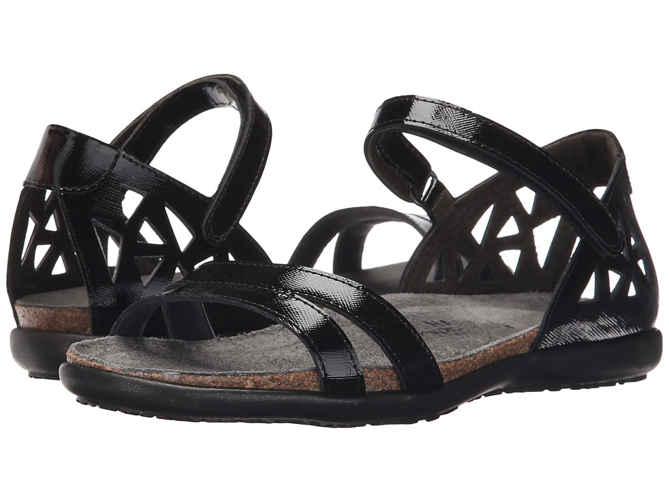 Naot Footwear Bonnie Black Luster Leather Womens Sandals