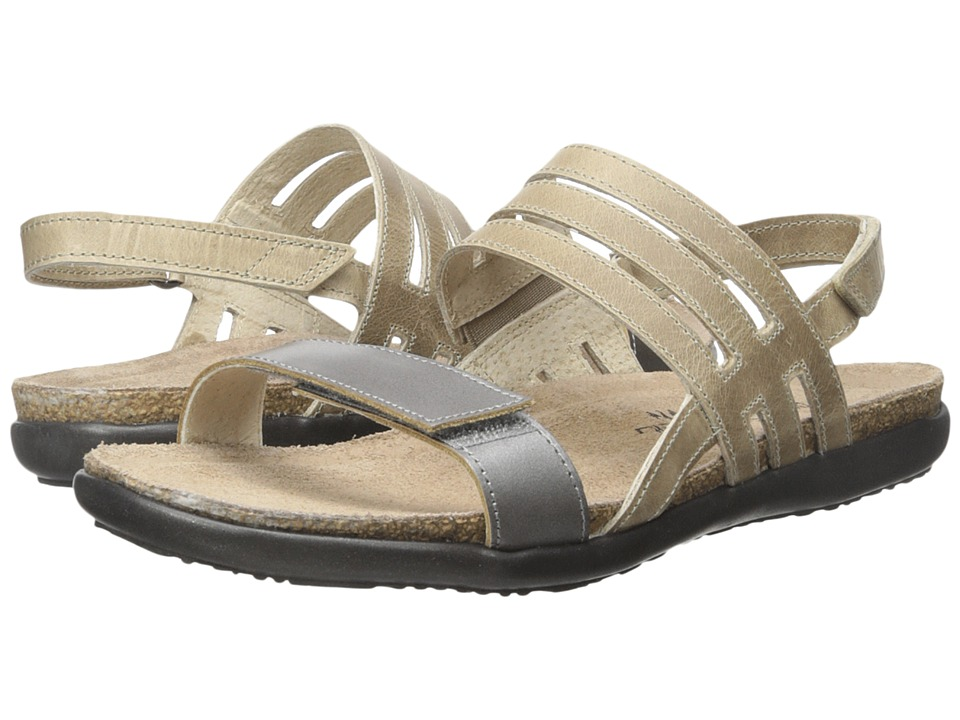 Naot Footwear Diana Mirror Leather/Khaki Beige Leather Womens Sandals