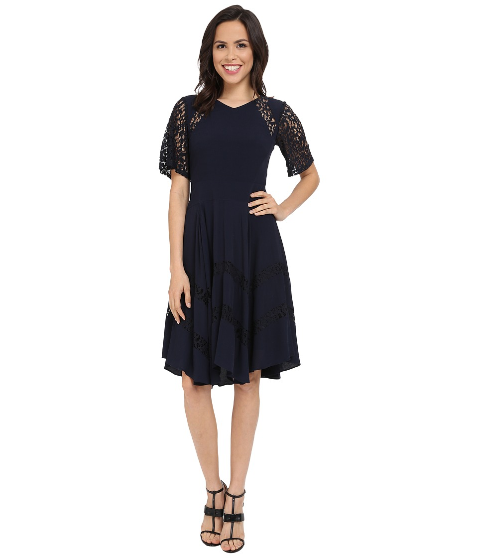Rebecca Taylor Crepe and Lace Dress Navy Womens Dress