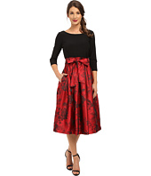 Jessica Howard - One-Piece 3/4 Sleeve Inset Waist Dress with Pleated Skirt & Tie Sash
