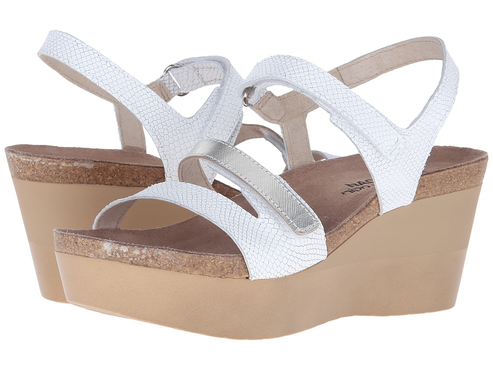 Naot Footwear - Canaan (White Snake Leather/Silver Luster Leather) Women