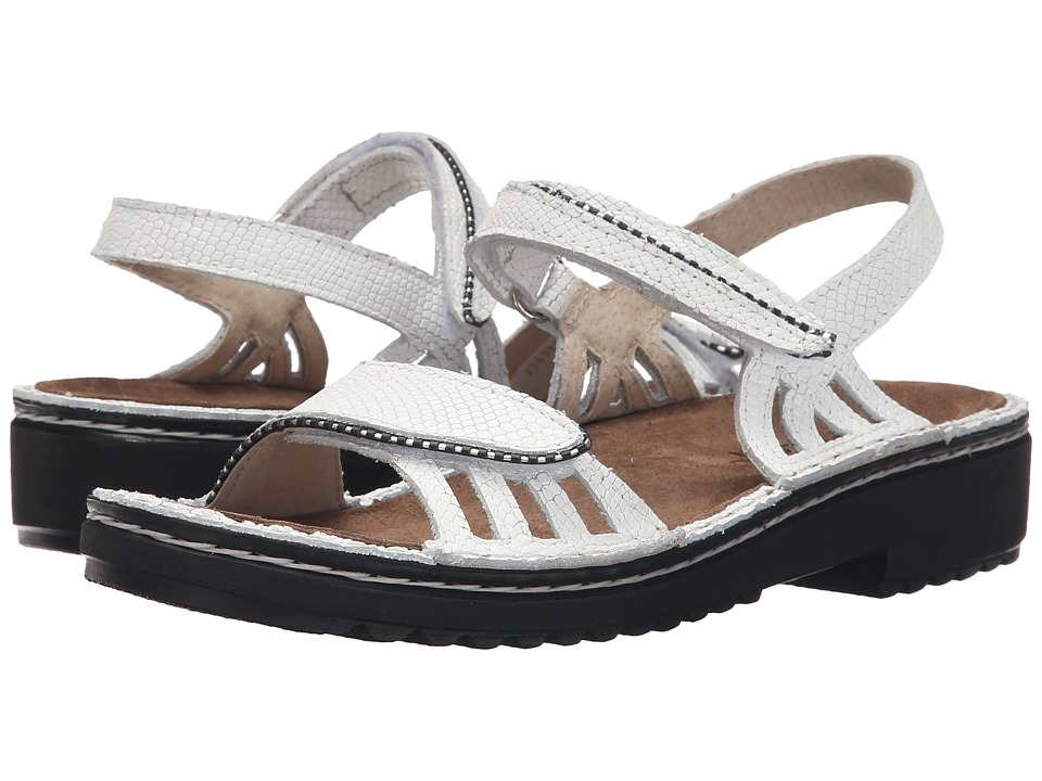 Naot Footwear Anika White Snake Leather Womens Sandals