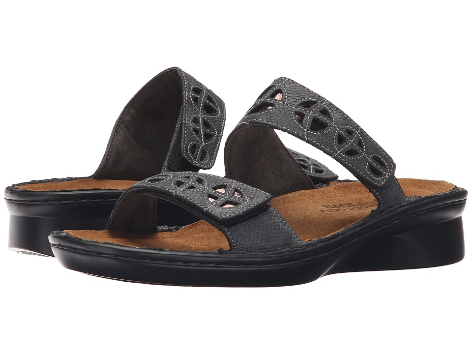 Naot Footwear Cornet Reptile Gray Leather/Glass Brown Womens Shoes