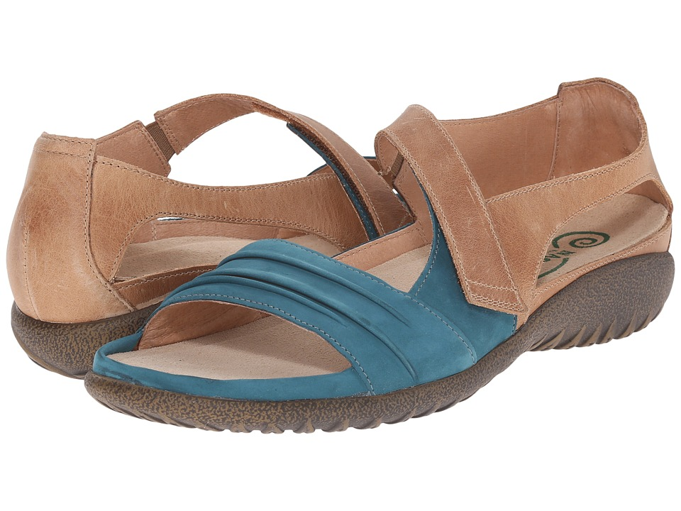Naot Papaki (Teal Nubuck/Latte Brown Leather) Women's Shoes
