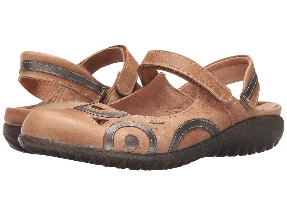 Naot Footwear Rongo (Latte Brown Leather/Pewter Leather) Women's Hook and Loop Shoes
