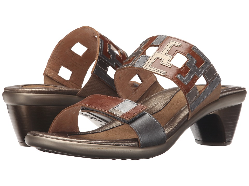 Naot Footwear Chic Maple Brown Leather/Mirror Leather/Pewter Leather Womens Sandals