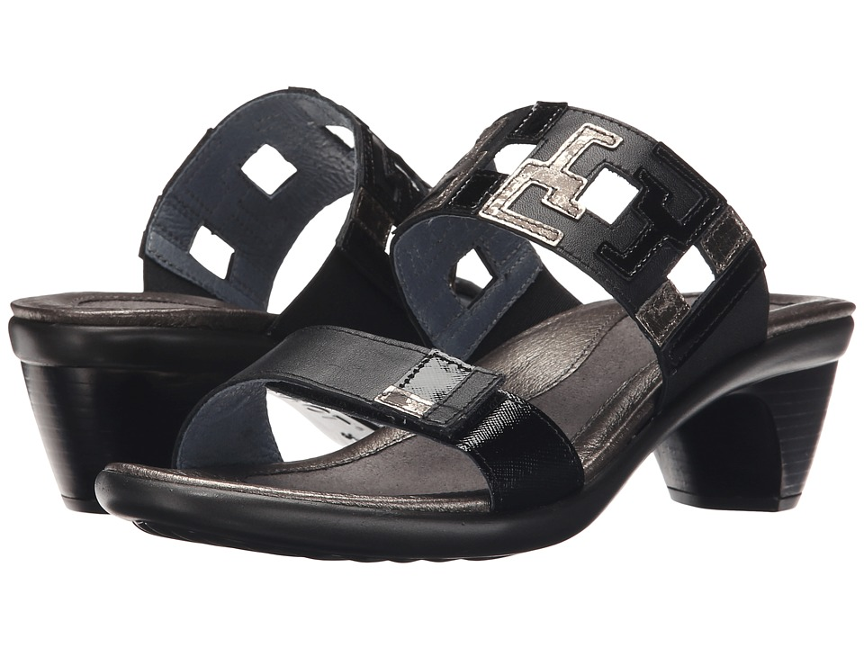 Naot Footwear Chic Black Raven Leather/Black Luster Leather/Metal Leather Womens Sandals