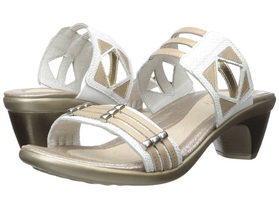 Naot Footwear Afrodita White Snake Leather/Satin Gold Leather/Gold Leather Womens Sandals