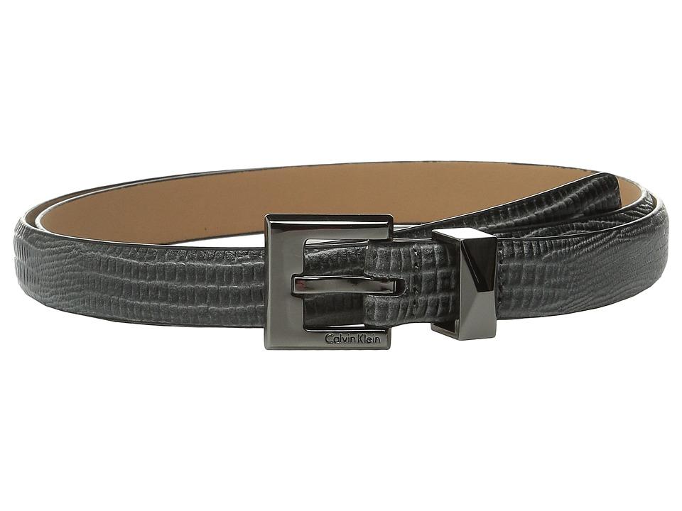 Calvin Klein 20mm Embossed Lizard Belt Dark Grey Womens Belts