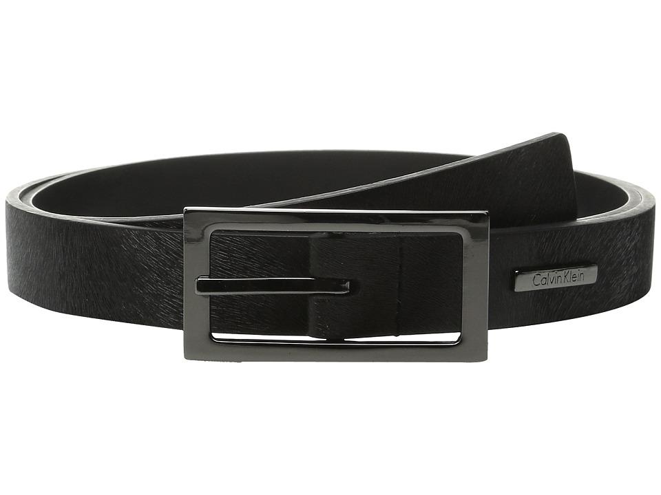 Calvin Klein 26mm Embossed Haircalf Detail Belt Black Womens Belts