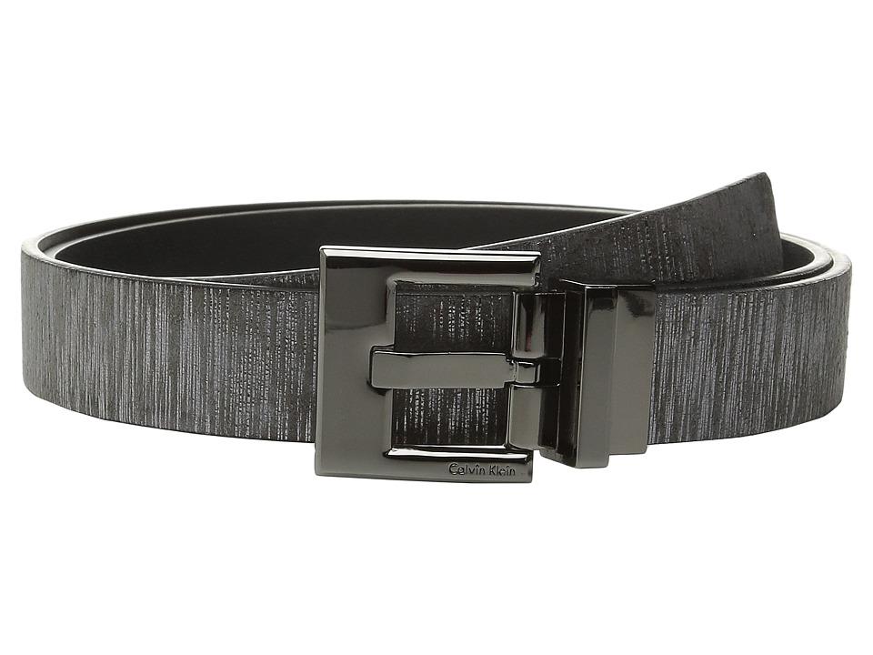 Calvin Klein 30mm Reversible Metallic Wood Grain Belt Grey Womens Belts
