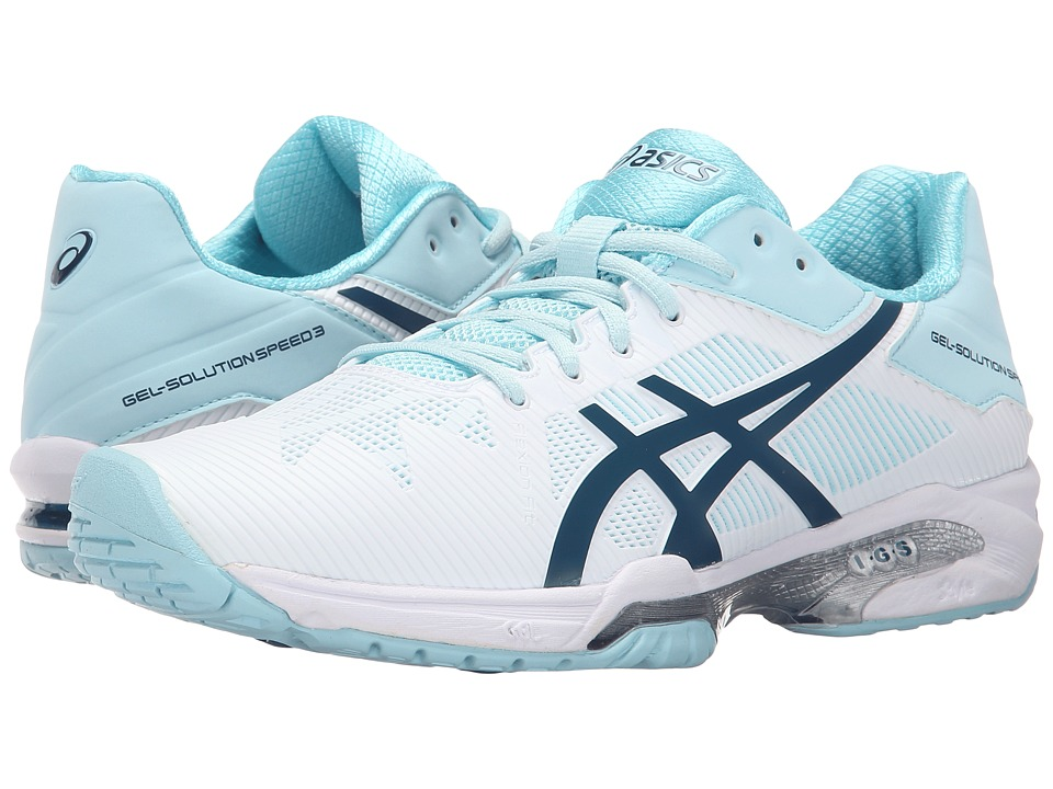 ASICS - Gel-Solution Speed 3 (White/Blue Steel/Crystal Blue) Womens Tennis Shoes