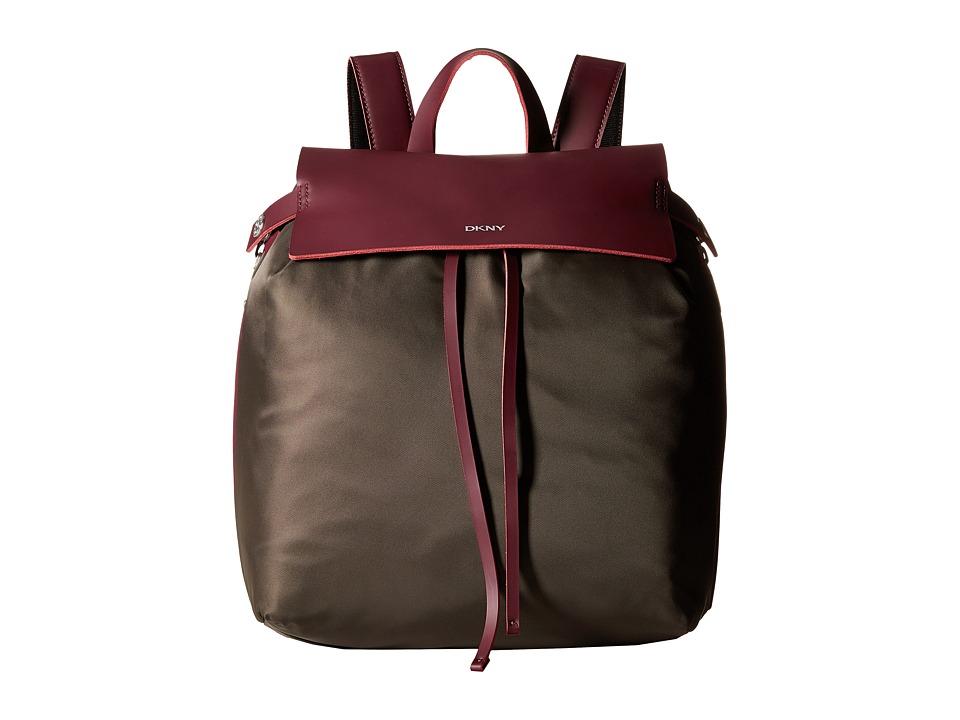 DKNY - Nylon w/ Rub Drawstring Backpack (Dark Desert/Beet Red) Backpack Bags