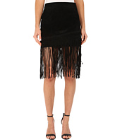 Blank NYC - Black Suede Fringe Skirt in Seal The Deal