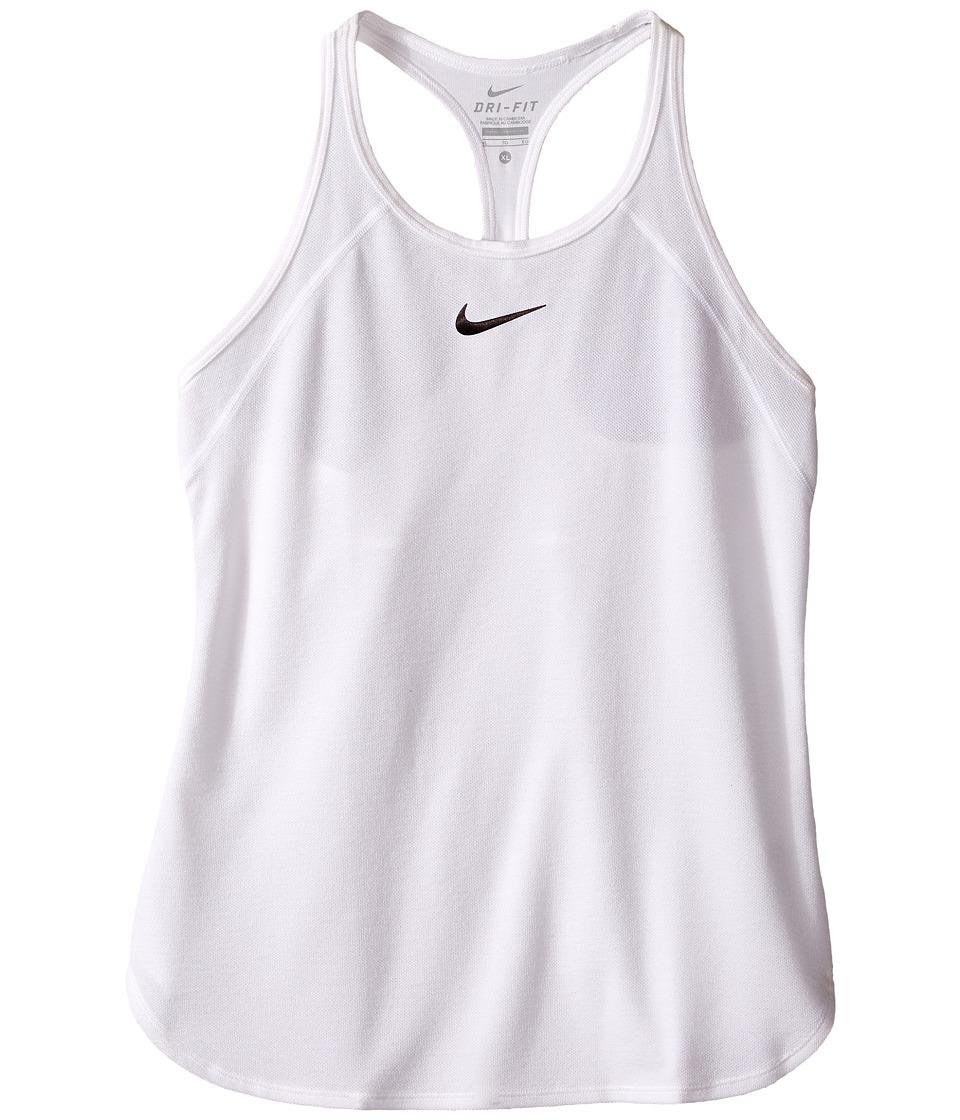 Nike Kids Court Slam Tennis Tank Top Little Kids/Big Kids White/White/Black Girls Sleeveless