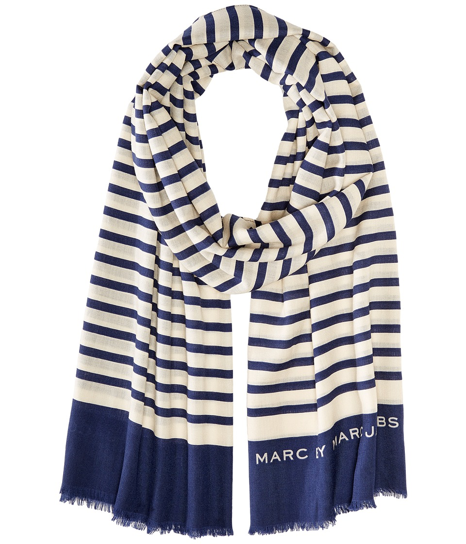 Marc by Marc Jacobs Breton Stripe Scarf New Prussian Blue Multi Scarves