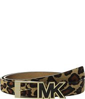 MICHAEL Michael Kors - 25mm Haircalf Belt with Contrast Patent Inlay MK Buckle