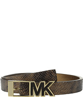 MICHAEL Michael Kors - 25mm Snake Embossed Belt with Contrast Inlay MK Buckle