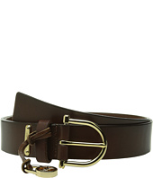 MICHAEL Michael Kors - 35mm Veg Leather Belt on MK Harness Buckle with Logo Drop