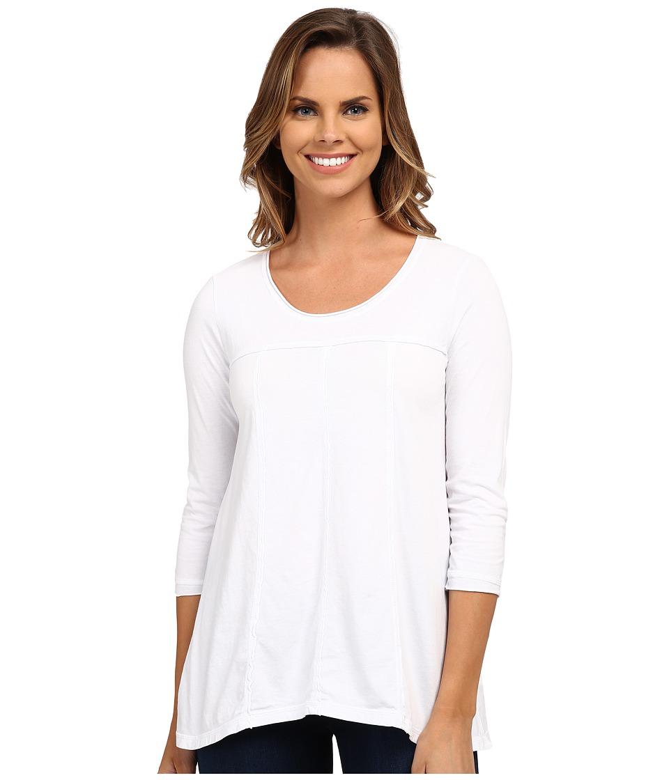Mod o doc Classic Jersey 3/4 Sleeve Seamed Scoopneck Tee White Womens T Shirt