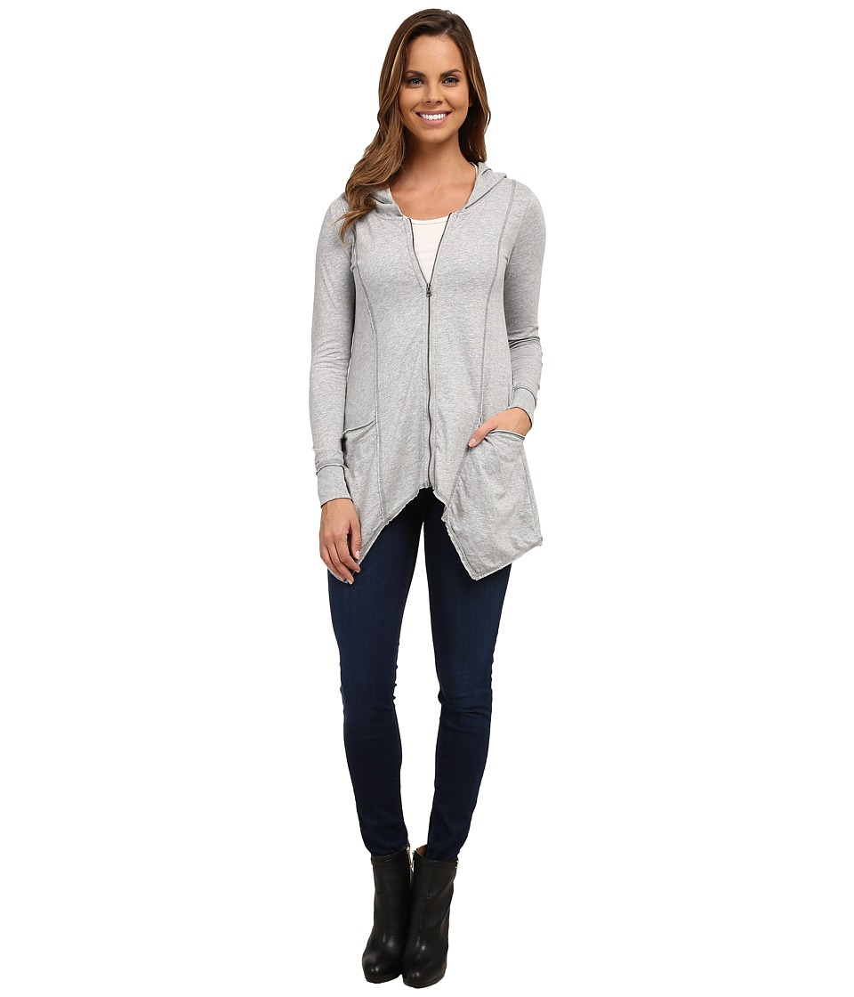 Mod o doc Classic Jersey Hanky Hem Zip Hoodie Heather Grey Womens Sweatshirt