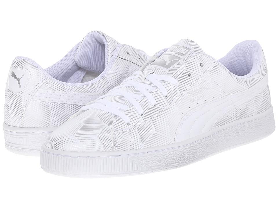 PUMA Basket Classic Metallic White Mens Basketball Shoes