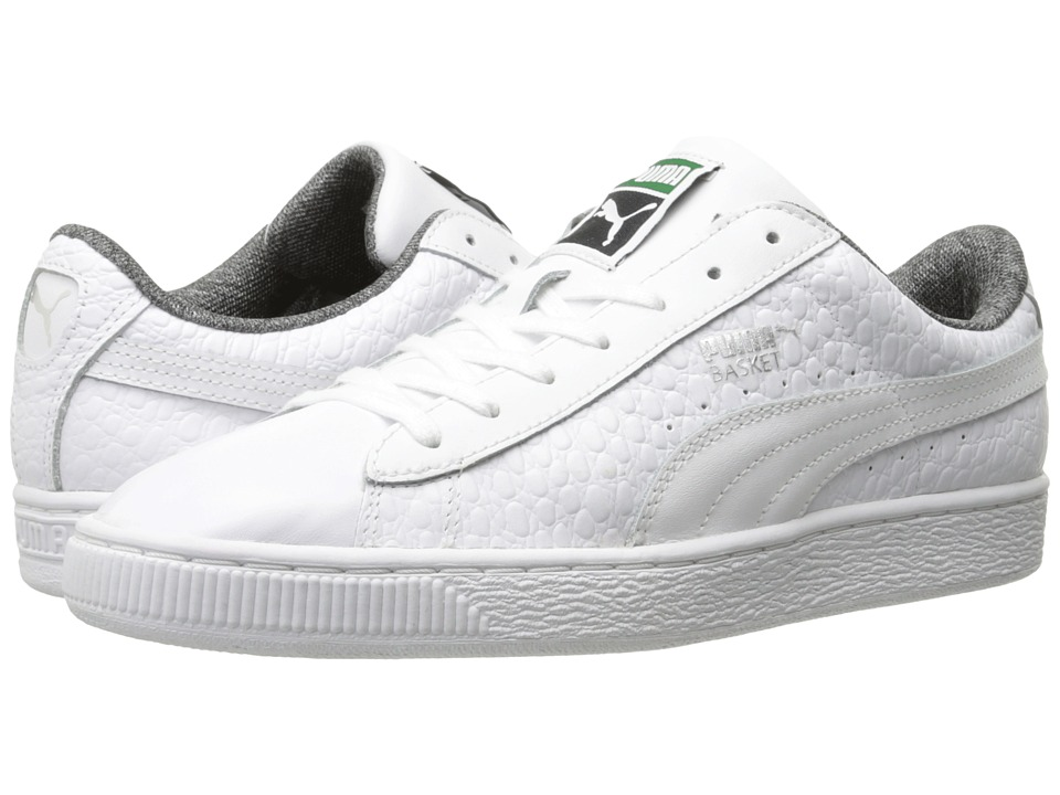 PUMA Basket Classic Textured White Mens Basketball Shoes