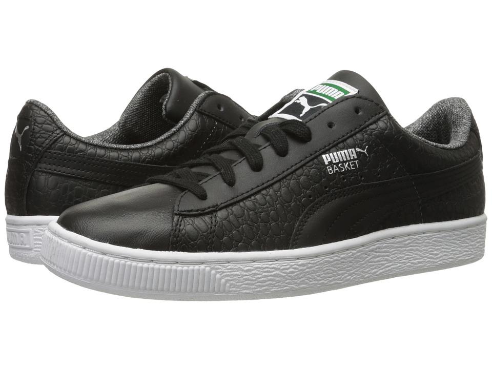 PUMA - Basket Classic Textured (Black) Mens Basketball Shoes