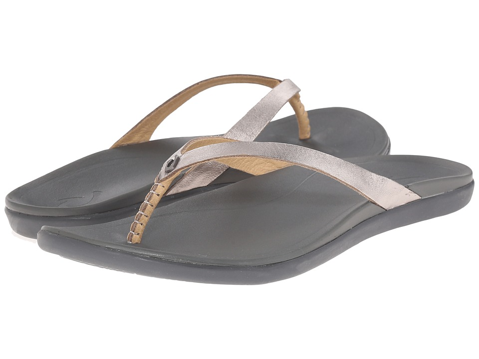 OluKai - Ho'opio Leather (Sliver/Charcoal) Women's Sandals