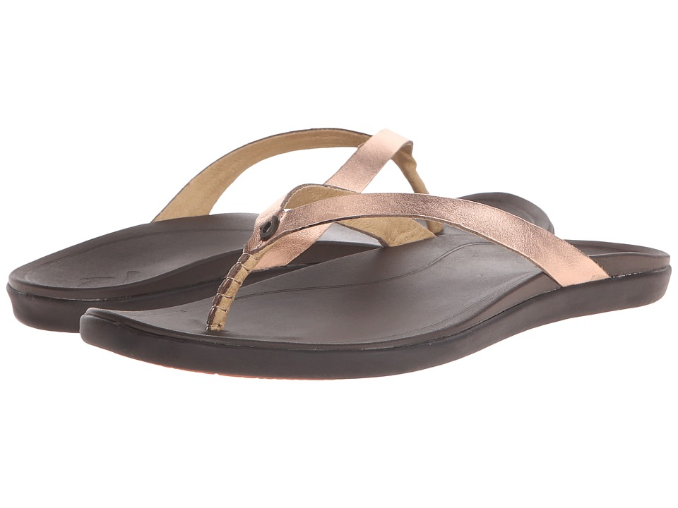OluKai Ho'opio Leather (Copper/Dark Java) Sandals