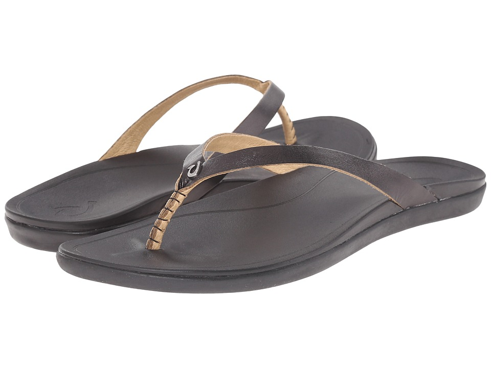 OluKai Ho'opio Leather (Onyx/Black) Sandals