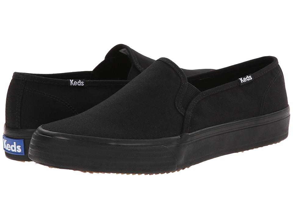 Keds Double Decker Woven Canvas Black/Black Womens Slip on Shoes