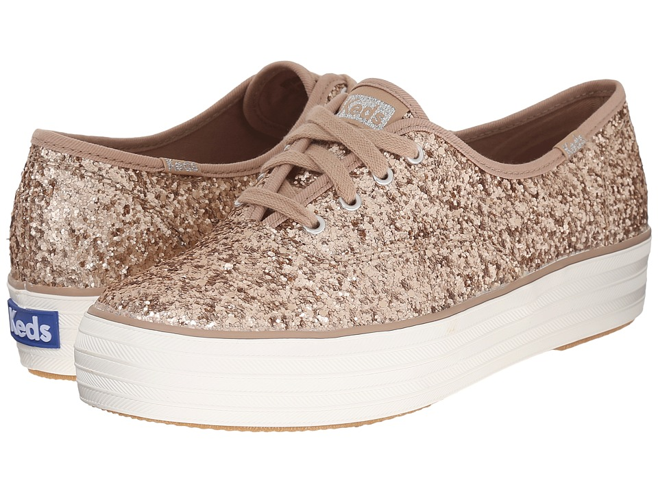 Keds Triple Glitter Champagne Womens Lace up casual Shoes
