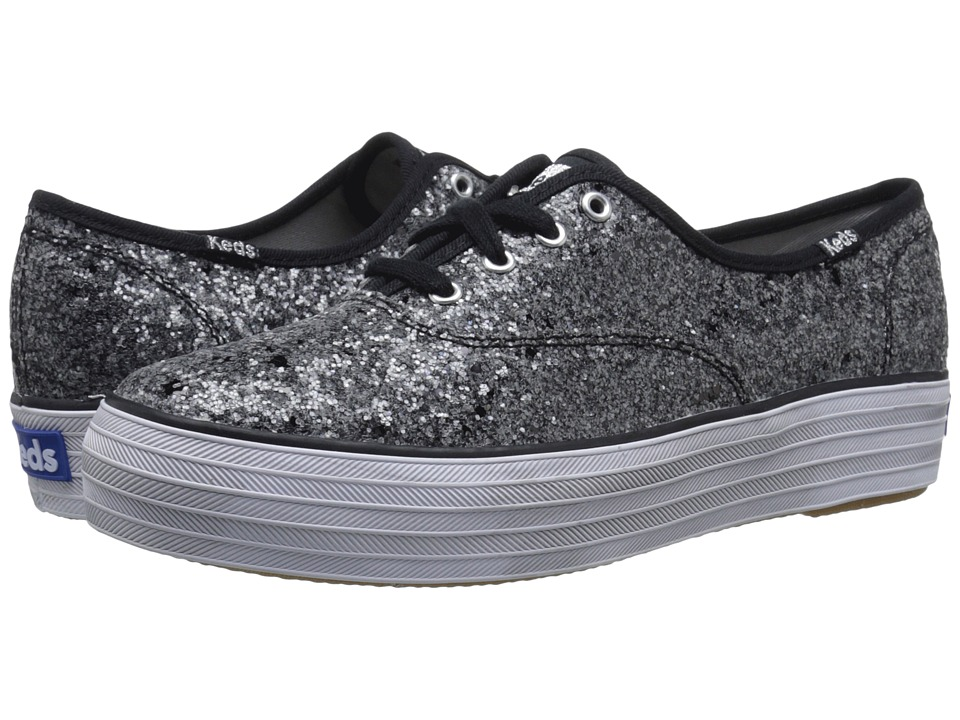 Keds Triple Glitter Black Womens Lace up casual Shoes