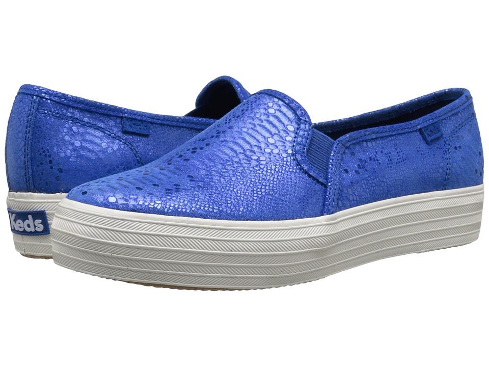 Keds Triple Decker Exotic Shimmer Blue Womens Slip on Shoes